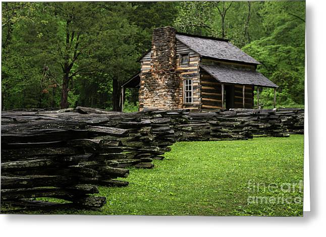 Greeting Card featuring the photograph John Oliver Cabin by Andrea Silies