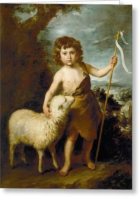 John The Baptist As A Child Greeting Card by Bartolome Esteban Murillo