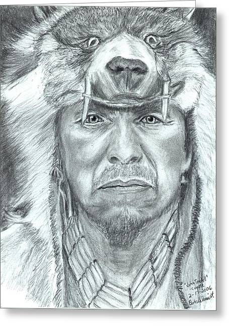 John Trudell - Coyote Greeting Card by Bob Schmidt