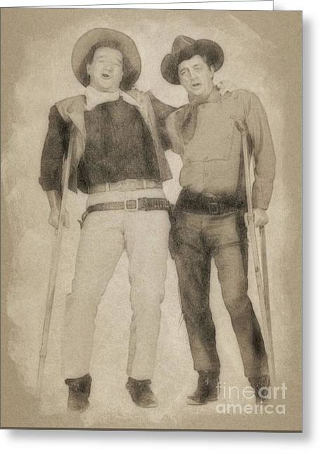 John Wayne And Robert Mitchum By John Springfield Greeting Card by John Springfield