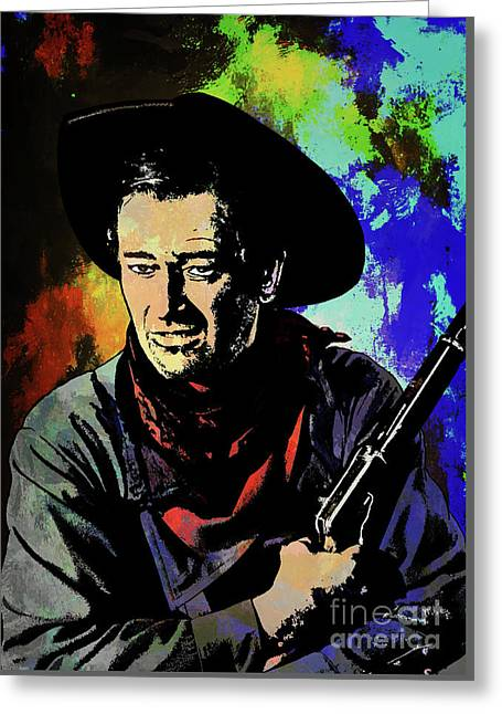 Greeting Card featuring the painting John Wayne, by Andrzej Szczerski