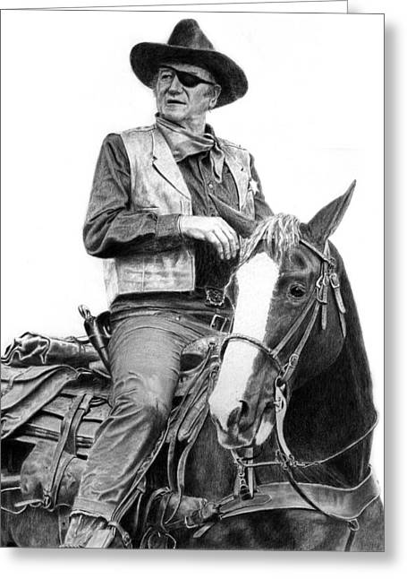 True Grit Drawings Greeting Cards - John Wayne as Rooster Cogburn Greeting Card by Ronny Hart