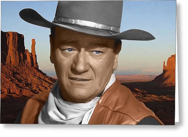 John Wayne Portrait Greeting Card by Daniel Hagerman