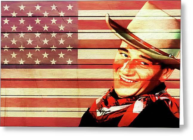 John Wayne Rustic American Flag Greeting Card
