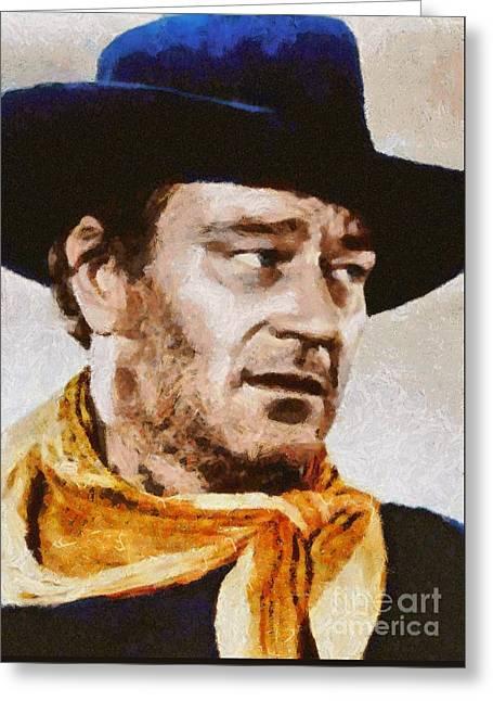 John Wayne, Vintage Hollywood Actor Greeting Card by Mary Bassett