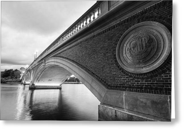 John Weeks Bridge Charles River Harvard Square Cambridge Ma Black And White Greeting Card by Toby McGuire