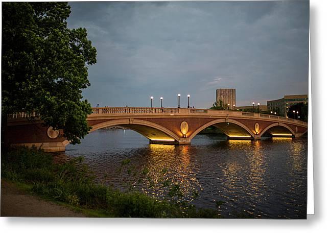 John Weeks Bridge Harvard Square Chales River Sunset Trees 2 Greeting Card