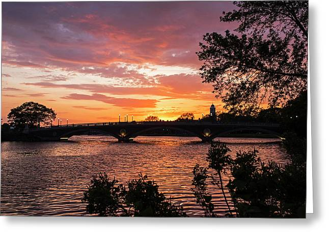 John Weeks Bridge Harvard Square Chales River Sunset Trees Greeting Card by Toby McGuire