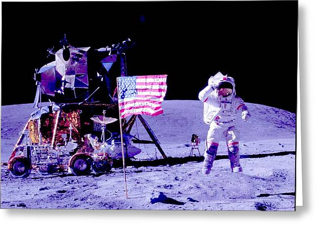 John Young On The Moon 2 Greeting Card