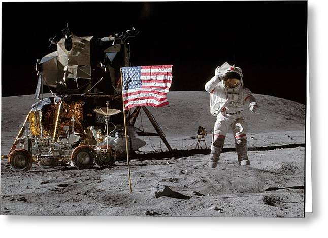 John Young On The Moon Greeting Card