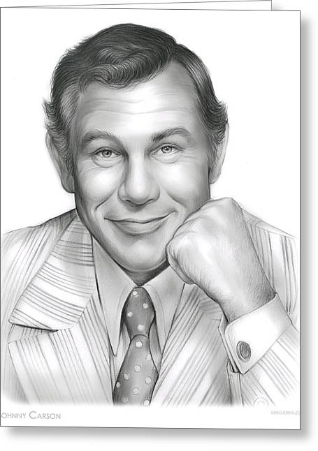 Johnny Carson Greeting Card by Greg Joens