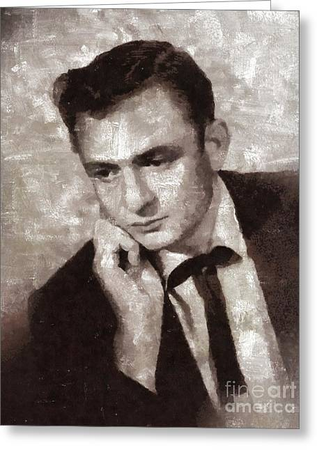 Johnny Cash By Mary Bassett Greeting Card