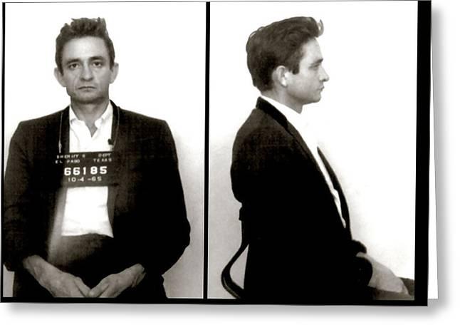 Johnny Cash - El Paso Texas Mugshot  1965 Greeting Card by Daniel Hagerman