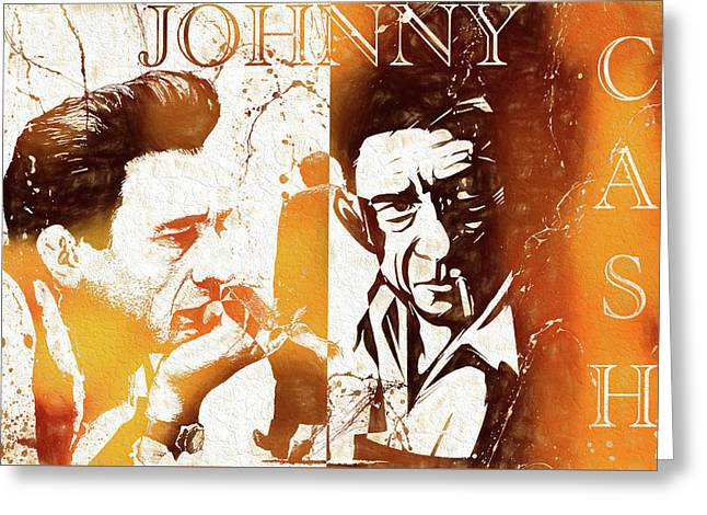 Johnny Cash Grunge Greeting Card
