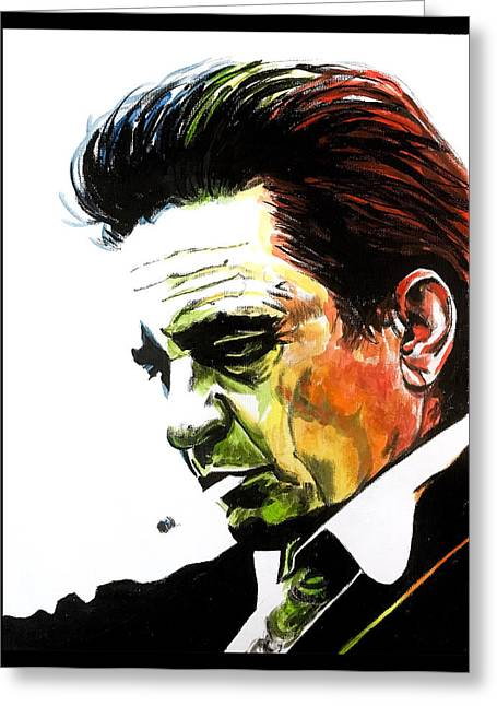 Greeting Card featuring the painting Johnny Cash by Joel Tesch
