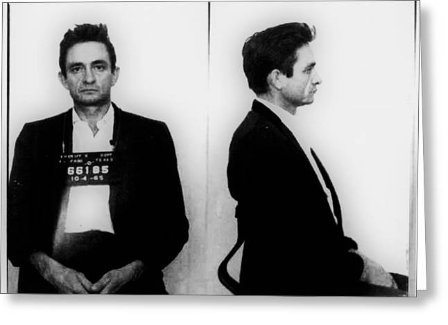 Country Lawyer Greeting Cards - Johnny Cash Mug Shot Horizontal Greeting Card by Tony Rubino