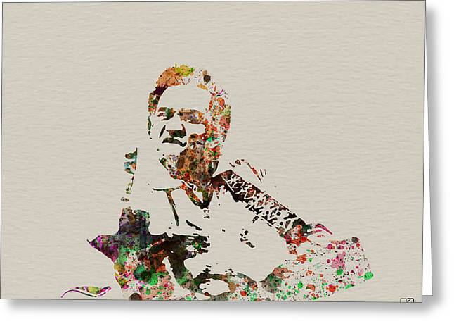 Idols Greeting Cards - Johnny Cash Greeting Card by Naxart Studio