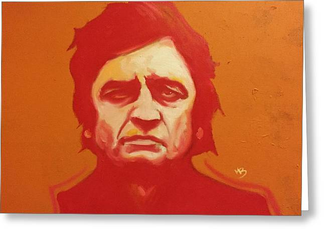 Johnny Cash Orange Greeting Card