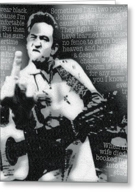 Johnny Cash Rebel Vertical Greeting Card by Tony Rubino