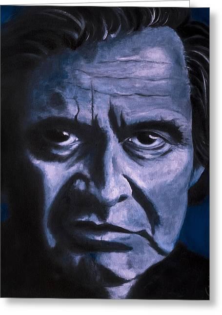 Johnny Cash Greeting Card by Tabetha Landt-Hastings