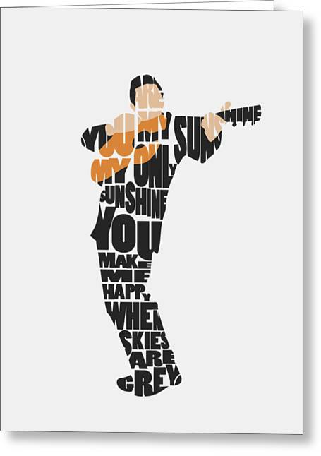 Johnny Cash Typography Art Greeting Card