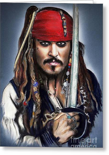 Johnny Depp As Jack Sparrow Greeting Card by Melanie D