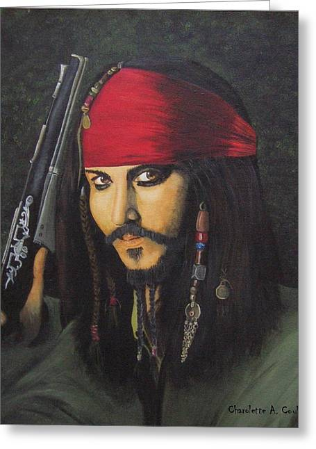 Johnny Depp- Captain Jack Greeting Card by Charolette A Coulter