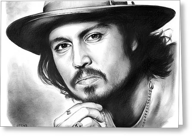 Johnny Depp Greeting Card by Greg Joens