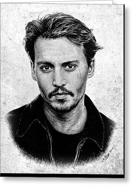 Johnny Depp Grey Specked Ver Greeting Card
