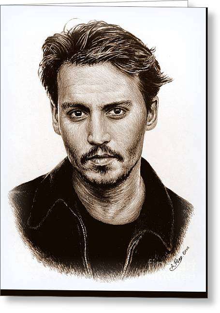 Johnny Depp Sepia Greeting Card by Andrew Read