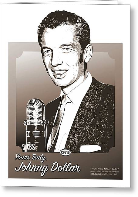 Johnny Dollar Greeting Card by Greg Joens