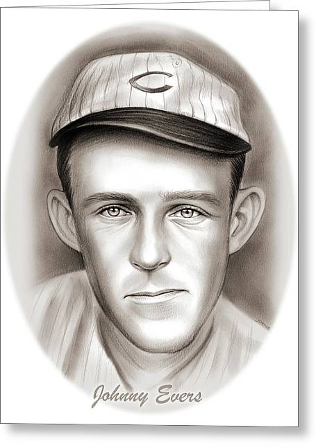 Johnny Evers Greeting Card by Greg Joens