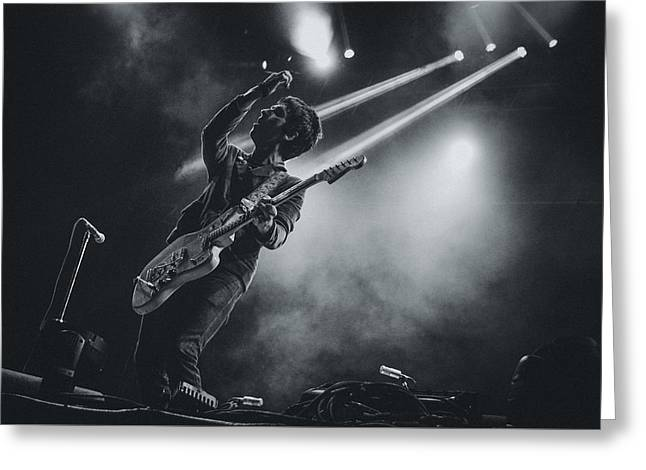 Pop Singer Greeting Cards - Johnny Marr Playing Live Greeting Card by Marco Oliveira
