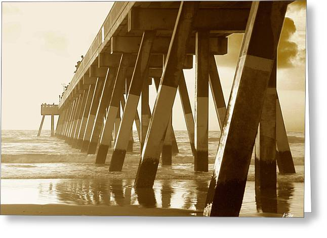Greeting Card featuring the photograph Johnny Mercer Pier At Sunrise by Phil Mancuso