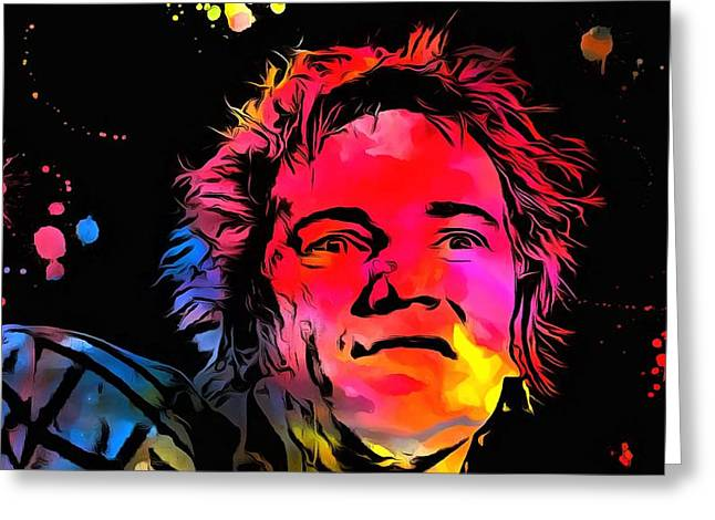 Johnny Rotten Paint Splatter Greeting Card by Dan Sproul