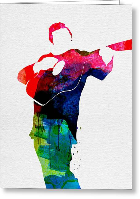 Johnny Watercolor Greeting Card by Naxart Studio