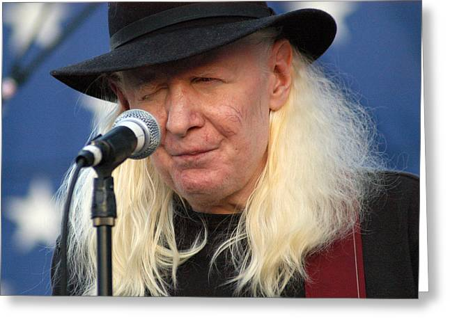 Johnny Winter Greeting Card by Mike Martin
