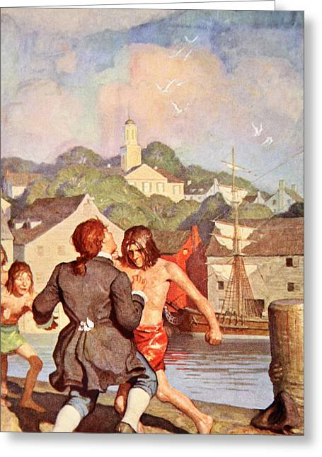 Johnny's Fight With Cherry Greeting Card by Newell Convers Wyeth