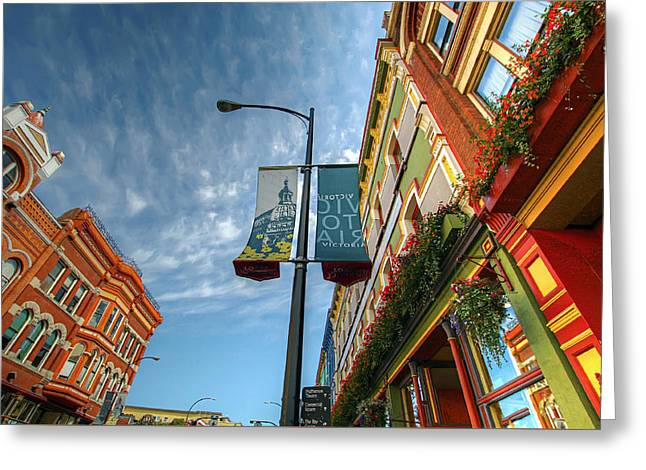 Johnson Street In Victoria B.c. Greeting Card by David Gn