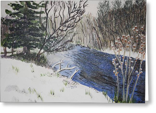 Greeting Card featuring the painting Johnson Vermont In Spring Snow Storm by Donna Walsh