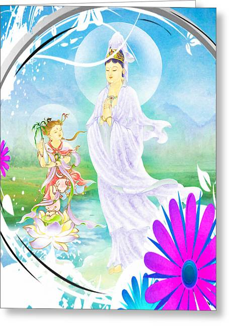 Joining Palms Kuan Yin 1 Greeting Card by Lanjee Chee