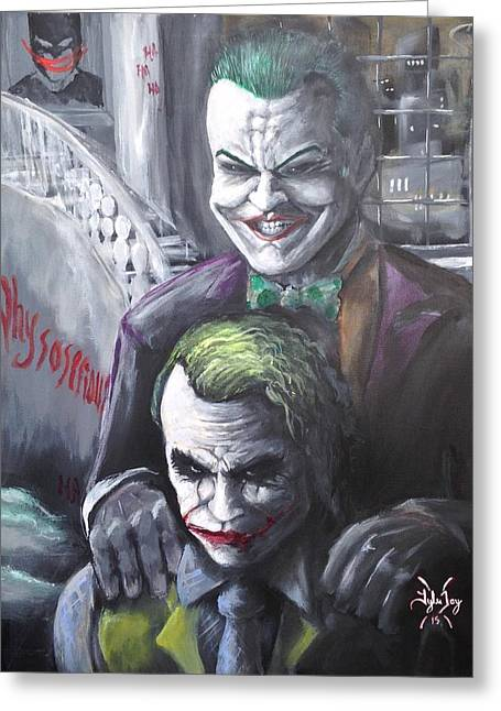 Jokery In Wayne Manor Greeting Card by Tyler Haddox