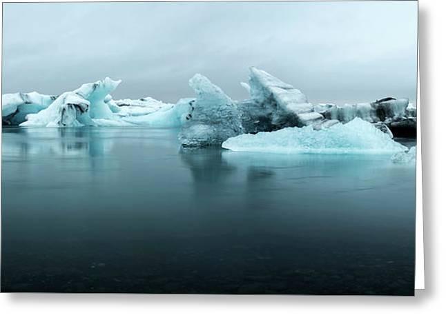 Greeting Card featuring the photograph Jokulsarlon Glacier Lagoon Panorama by Brad Scott