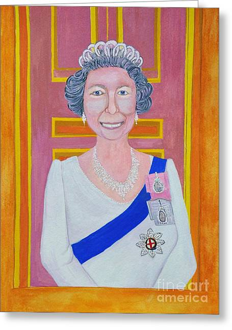 Sovereign Greeting Cards - Jolly Good Your Majesty Greeting Card by Reb Frost