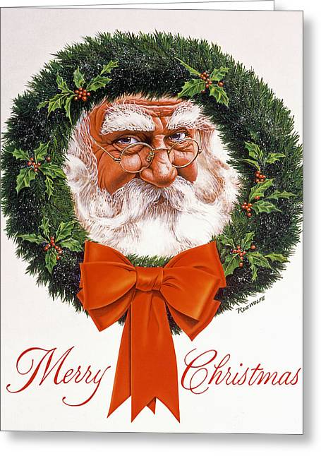 Jolly Old Saint Nick Greeting Card by Richard De Wolfe
