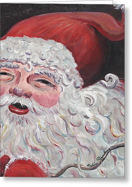 Jolly Santa Greeting Card by Nadine Rippelmeyer