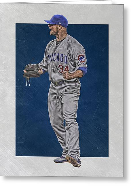 Jon Lester Chicago Cubs Art Greeting Card