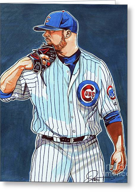 Jon Lester Chicago Cubs Greeting Card by Dave Olsen