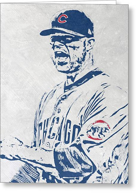 Jon Lester Chicago Cubs Pixel Art Greeting Card by Joe Hamilton