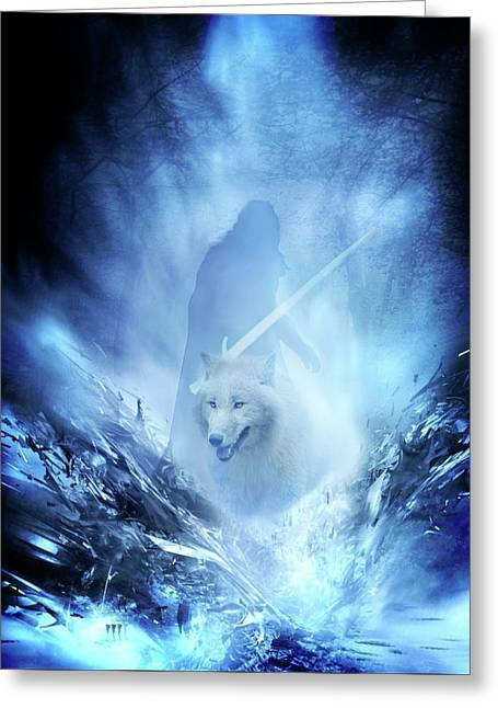 Jon Snow And Ghost - Game Of Thrones Greeting Card